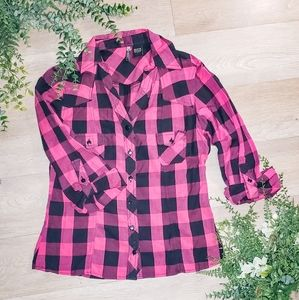 Passport pink buffalo plaid shirt